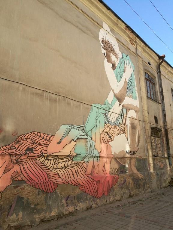Peinture sur un des murs de la ville à Kaunas