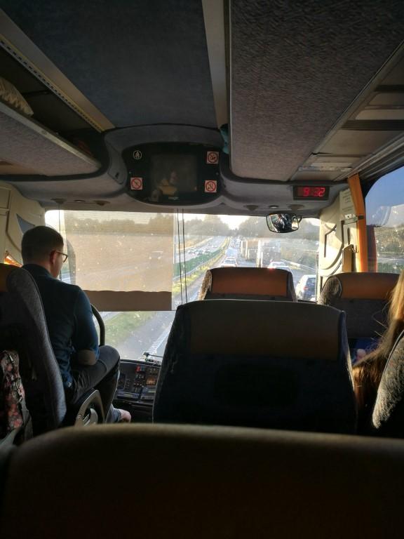Les bouchons depuis le bus en quittant Vilnius direction Klaipeda