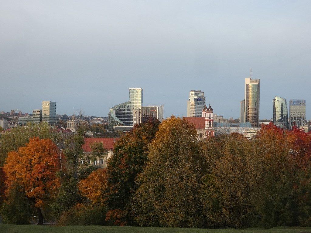 La vue du quartier des affaires de Vilnius depuis une colline.