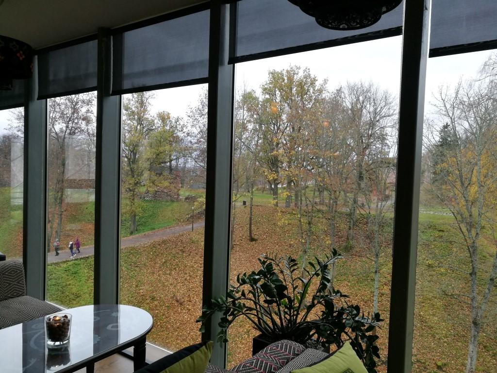 La vue depuis le restaurant qui donne sur le parc du chateau
