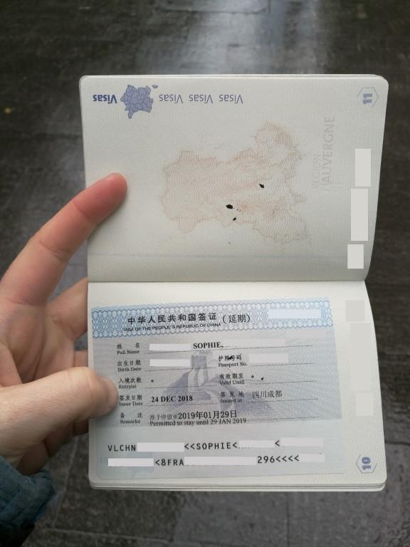 L'autorisation de rester un mois de plus en Chine