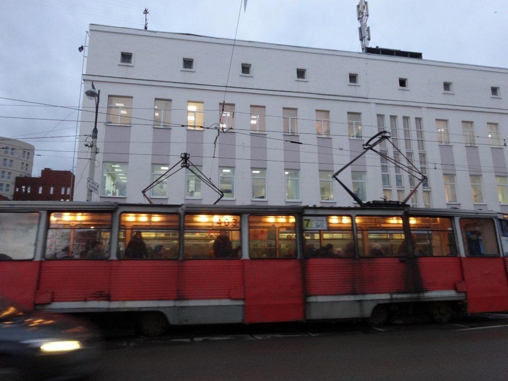Le vieux tramway à Perm