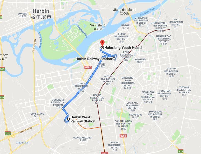 Harbin, position des gares par rapport au centre ville