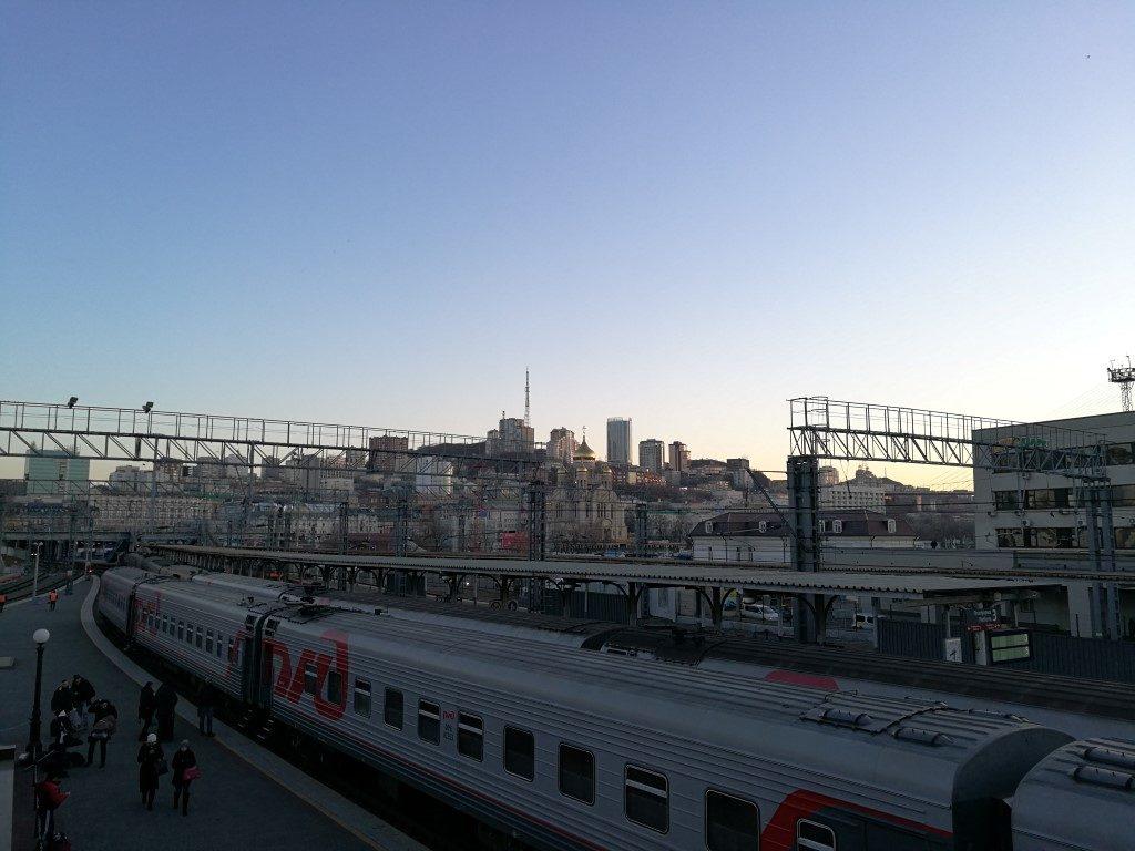 La vue sur Vladivostok depuis la gare ferrovière