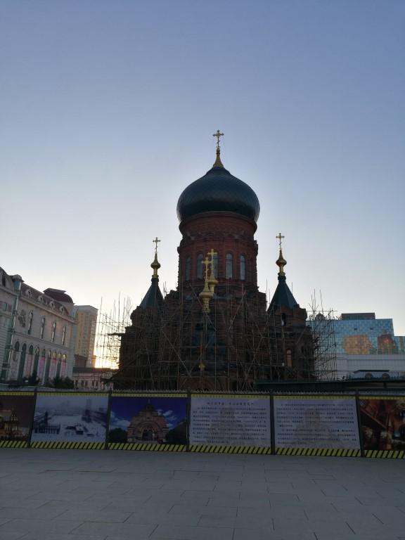 Une église au coeur de la ville en cours de rénovation