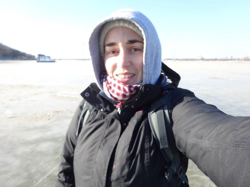 Balade sur la rivière gelée à Harbin