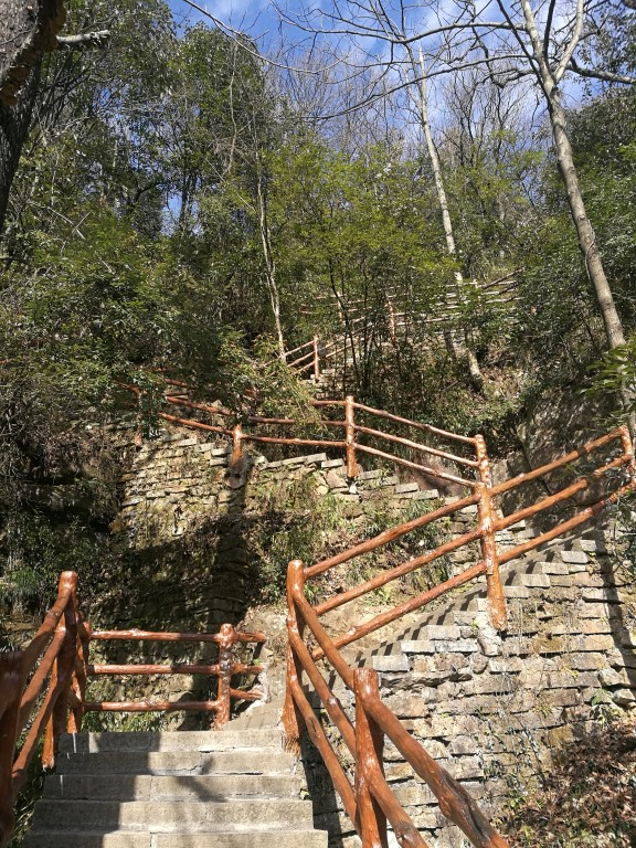 Les escaliers qui permettent de passer d'une zone du parc à l'autre