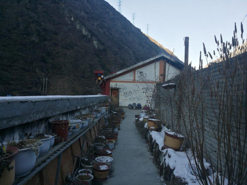 L'extérieur de l'auberge à Kangding