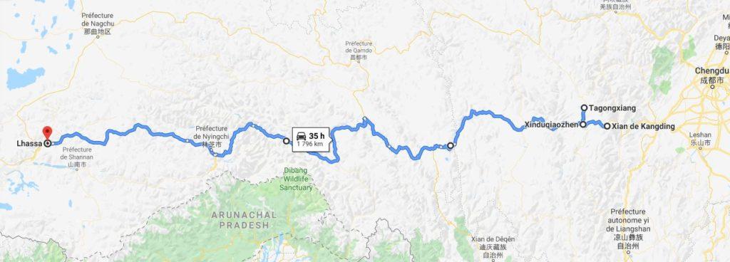 Le trajet sur la route entre Kangding et Lhassa