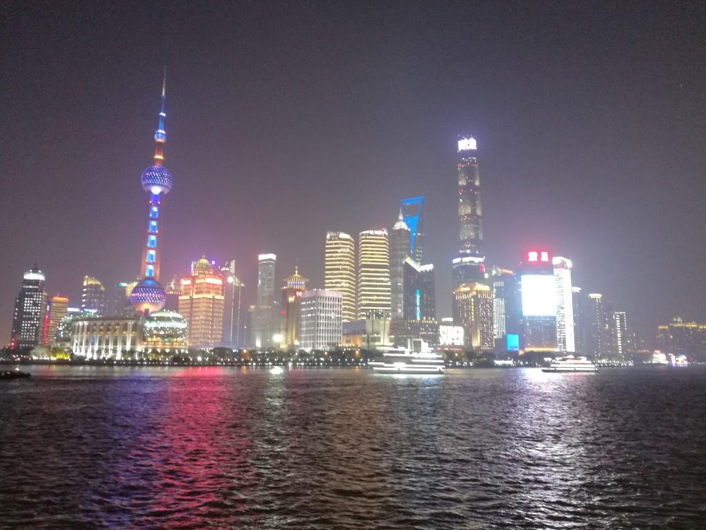 Le quartier des affaires de Pudong de nuit