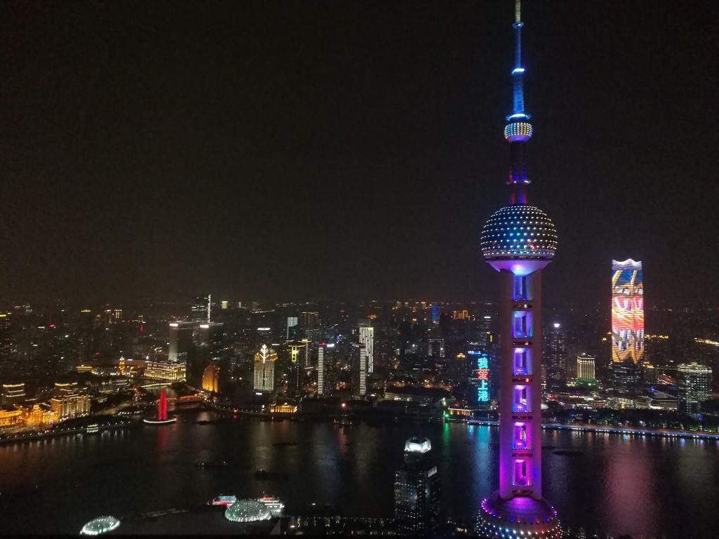 Une soirée avec la vue sur le Bund depuis Pudong