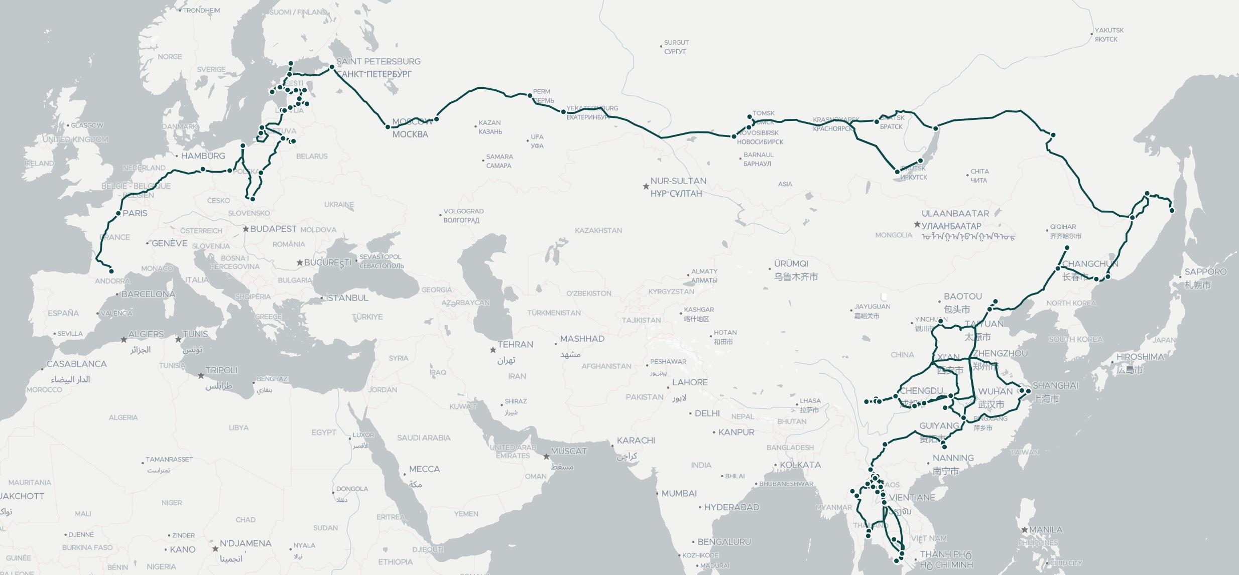 Aventures terrestres et maritimes en Eurasie, la carte