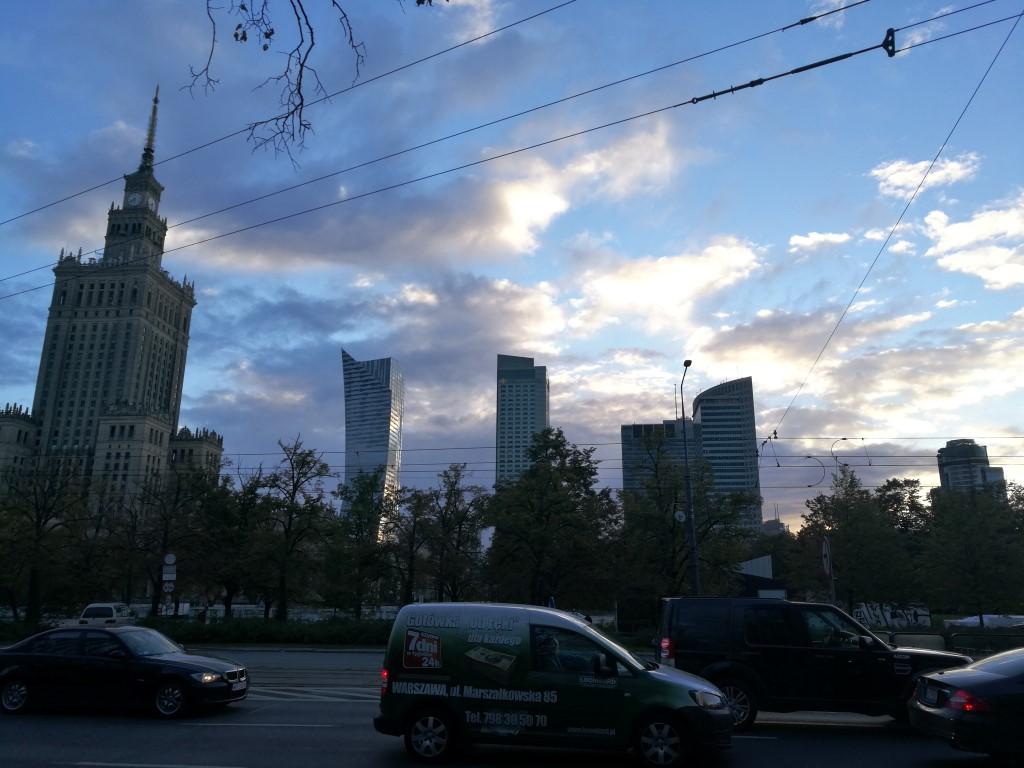 Le quartier des affaires au coucher du soleil