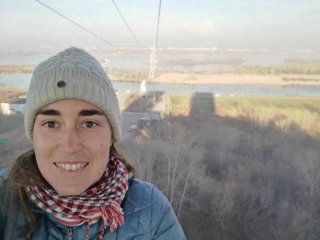 Dans le téléphérique pour traverser la rivière à Nizhnyi-Novgorod