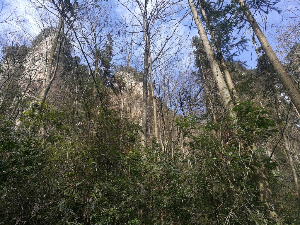 La vue sur les montagnes pendant la montée par les escaliers